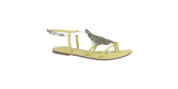 Dámské kožené limetkovo-stříbrné sandálky Bullboxer