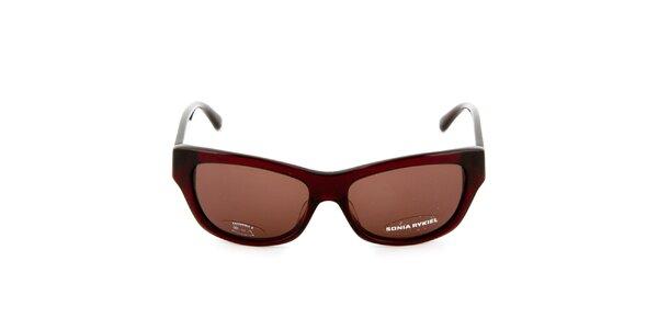 Červenohnědé sluneční brýle s proužky na stranicích Sonia Rykiel