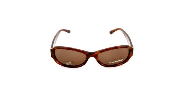 Tmavě hnědé sluneční brýle s žíháním Sonia Rykiel