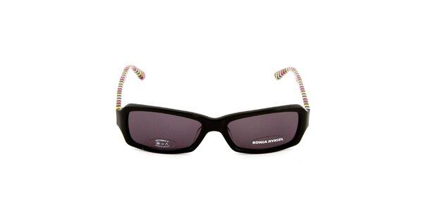 Černé sluneční brýle s barevně pruhovanými stranicemi Sonia Rykiel