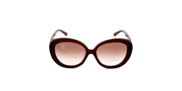 Dámské retro vínové sluneční brýle s hnědými sklíčky Sonia Rykiel