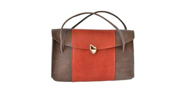 Dámská hnědá kabelka s barevným pruhem Bellemarie