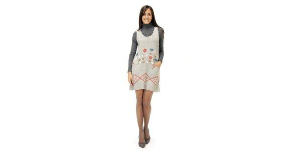 Šedé šaty s kvítky Peace&Love