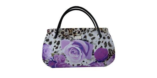 Dámská kabelka s leopardím vzorem a fialovými květy Bellemarie