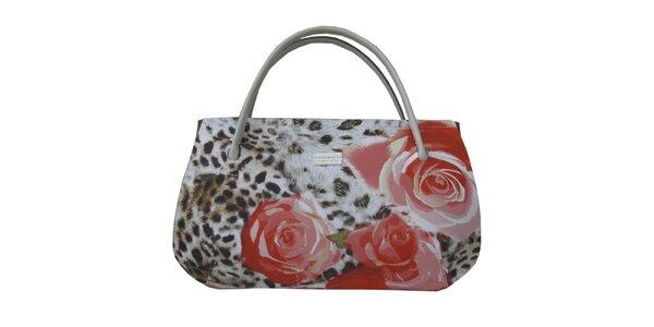 Dámská kabelka s leopardím vzorem a červenými květy Bellemarie