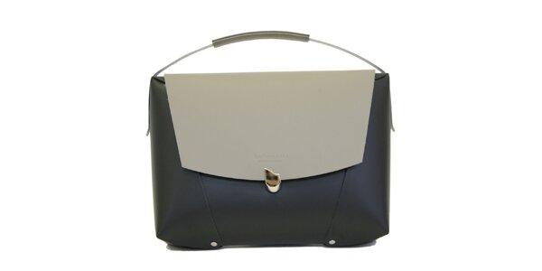Dámská černá kožená kabelka s šedivou klopou Bellemarie
