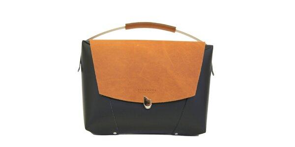 Dámská černá kožená kabelka s béžovou klopou Bellemarie
