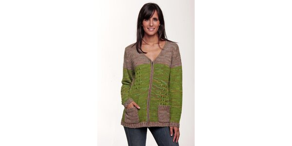 Zelenohnědy svetr na zip Peace&Love