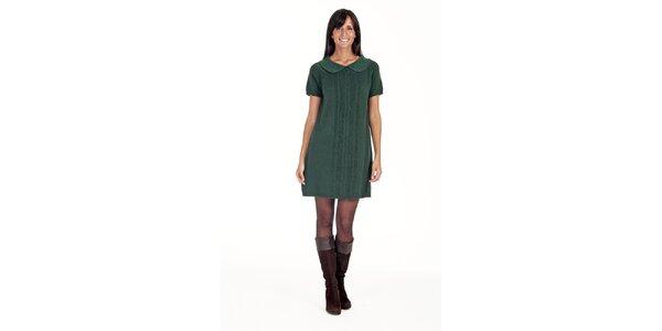 Zelené šaty s límečkem Peace&Love