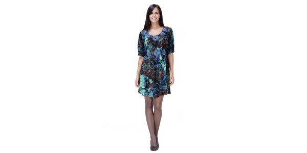 Modré šaty se vzorem Peace&Love