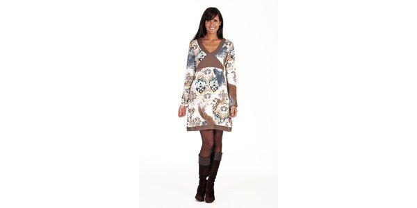 Hnědobéžové šaty se vzorem Peace&Love