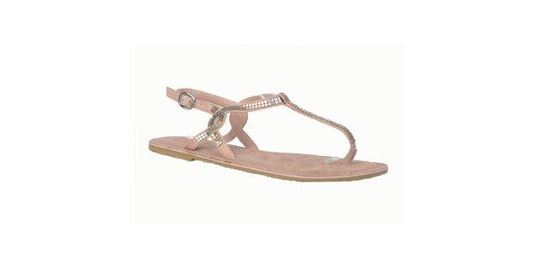 Dámské kožené růžové sandálky s flitry Bullboxer