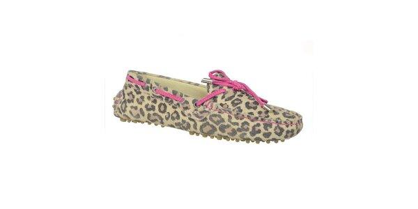 Dámské kožené leopardí mokasíny s fuchsiovou tkaničkou Bullboxer
