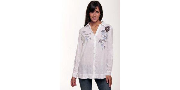 Bílá košile se vzorkem Peace&Love