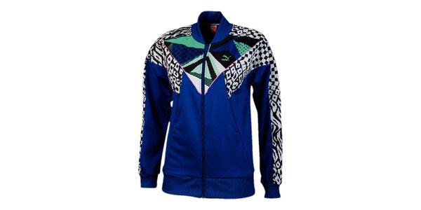 Dámská modrá bunda s barevnými vzory Puma
