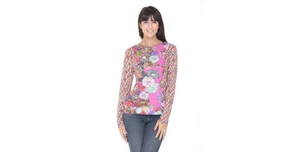 Růžové květinové tričko Peace&Love