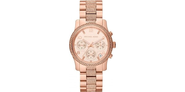 Dámské pozlacené ocelové hodinky Michael Kors s krystalky kolem ciferníku a na…