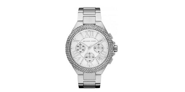 Dámské ocelové hodinky s kulatým ciferníkem a krystalky Michael Kors
