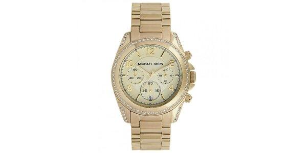 Dámské hodinky z pozlacené ušlechtilé oceli se zirkony na lunetě Michael Kors