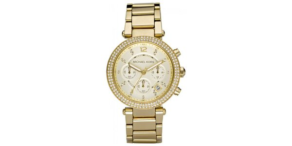 Dámské pozlacené hodinky s lunetou se zirkony Michael Kors
