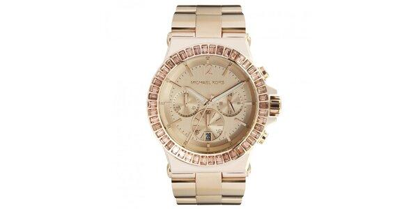 Dámské pozlacené hodinky s chronografem a datumovkou Michael Kors