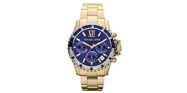 Dámské pozlacené hodinky s modrým ciferníkem Michael Kors