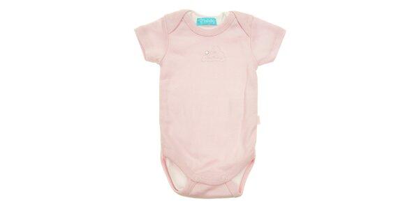 Dětské růžové body Lullaby s krátkým rukávem