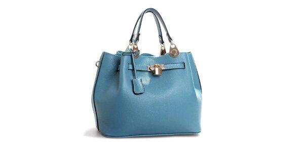 Dámská světle modrá kožená kabelka se zámečkem Belle & Bloom