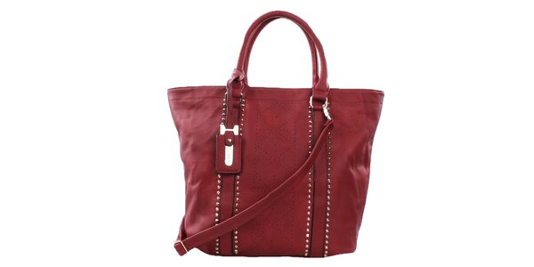 Dámská rudá velká kabelka s perforací a cvočky Bessie