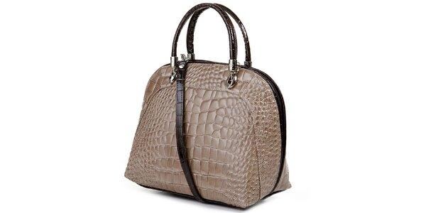 Dámská světle hnědá kabelka s motivem krokodýlí kůže Giulia