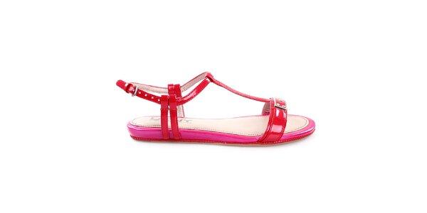 Dámské nízké červeno-růžové páskové sandálky DKNY