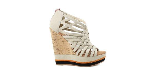 Dámské páskové boty na vysokém klínku v krémové barvě Cubanas Shoes 229a9f315b