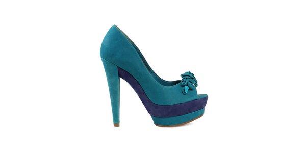Dámské modré lodičky s otevřenou špičkou Cubanas Shoes