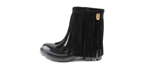Dámské černé nízké kozačky s třásněmi Cubanas Shoes