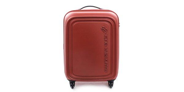 Středně velký červenooranžový kufr na kolečkách a s TSA zámkem Mandarina Duck
