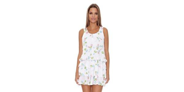 Dámské bílé šaty s volány Assuili