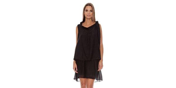 Dámské černé šaty se spadnutým límcem Assuili