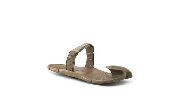 Hnědé boty s textilním páskem přes nárt Dopie
