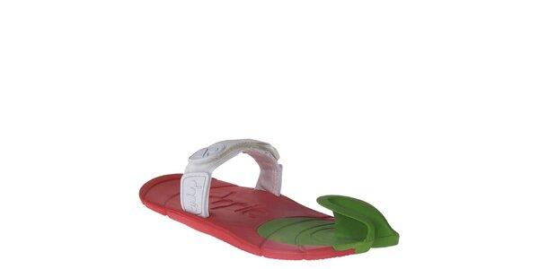 Červeno-zeleno-bílé boty s textilním páskem přes nárt Dopie