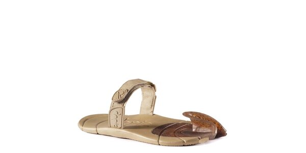 Khaki boty s textilním páskem přes nárt Dopie