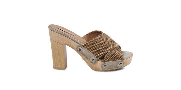 Dámské béžové sandálky s platformou Cubanas Shoes
