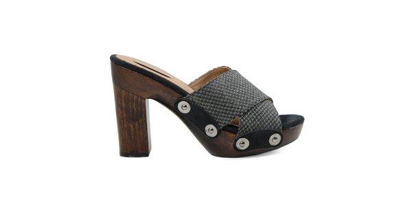 Dámské černé sandálky s platformou Cubanas Shoes