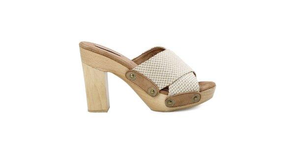 Dámské béžovo-bílé sandálky s platformou Cubanas Shoes