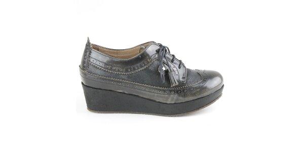 Dámské kožené antracitové polobotky na platformě Cubanas Shoes