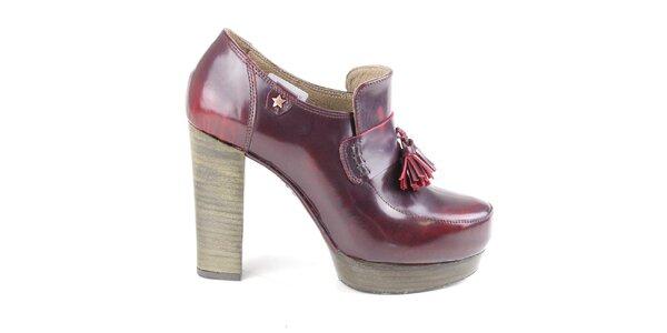 Dámské vínové kožené polobotky na podpatku Cubanas Shoes