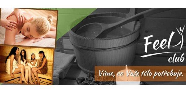 Privátní wellness zóna (masáž + sauna + parní lázeň s aromaterapií)