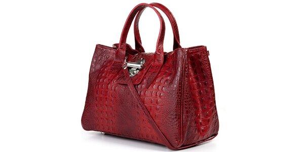 Dámká rudá kabelka s krokodýlím vzorkem Giulia