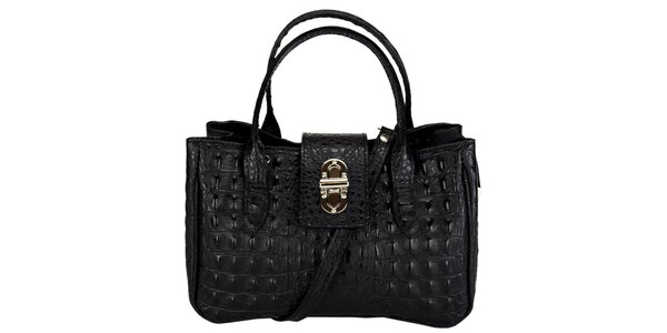 Dámská malá černá kabelka s krokodýlím vzorem Giulia