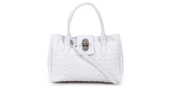 Dámská malá bílá kabelka s krokodýlím vzorem Giulia