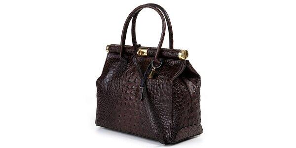 Dámská hnědá velká kufříková kabelka Giulia